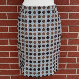 Boden British Tweed Wool Polka Dot Skirt Size 6L